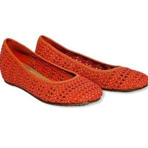 Eileen Fisher Coral Leather Weave Flat Hidden Heel